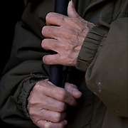 Close up of hands of elderly blind woman