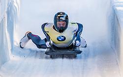 17.01.2020, Olympia Eiskanal, Innsbruck, AUT, BMW IBSF Weltcup Bob und Skeleton, Igls, Skeleton, Herren, 2. Lauf, im Bild Martins Dukurs (LAT) // Martins Dukurs of Latvia reacts after his 2nd run of men's Skeleton competition of BMW IBSF World Cup at the Olympia Eiskanal in Innsbruck, Austria on 2020/01/17. EXPA Pictures © 2020, PhotoCredit: EXPA/ Stefan Adelsberger
