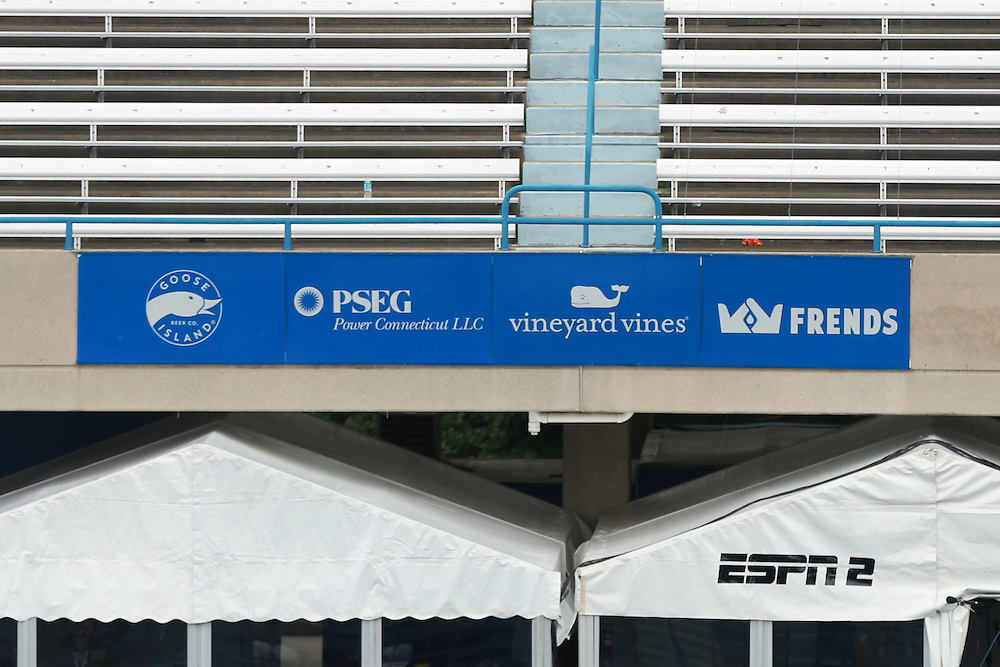 August 22, 2014, New Haven, CT:<br /> Middle tier signage on stadium court is shown on day eight of the 2014 Connecticut Open at the Yale University Tennis Center in New Haven, Connecticut Friday, August 22, 2014.<br /> (Photo by Billie Weiss/Connecticut Open)