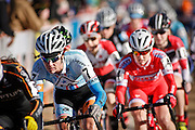 SHOT 1/12/14 2:28:16 PM - Nicole Duke (#7) of Boulder, Co. makes her way off the starting line mid pack in the Women's Elite race at the 2014 USA Cycling Cyclo-Cross National Championships at Valmont Bike Park in Boulder, Co.  (Photo by Marc Piscotty / © 2013)