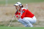 Minjee Lee weighs up her putt during the Ricoh Women's British Open golf tournament at Royal Lytham and St Annes Golf Club, Lytham Saint Annes, United Kingdom on 3 August 2018. Picture by Simon Davies.