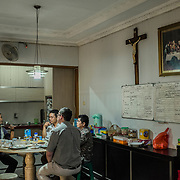 Inside the dining room of the house of the Catholic priest of Santa Clara church, in Bekasi, West Java, Indonesia