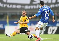 tippeliga, eliteserie, fotball, start, molde, 03.august, 2014<br />Espen Hoff, Start<br />Mohamed Elyounoussi, Molde<br />Foto: Ole Fjalsett