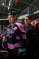 KELOWNA, CANADA - OCTOBER 21: Dillon Dube #19 of the Kelowna Rockets stands on the bench with equipment manager Chaydyn Johnson against the Portland Winterhawks on October 21, 2017 at Prospera Place in Kelowna, British Columbia, Canada.  (Photo by Marissa Baecker/Shoot the Breeze)  *** Local Caption ***