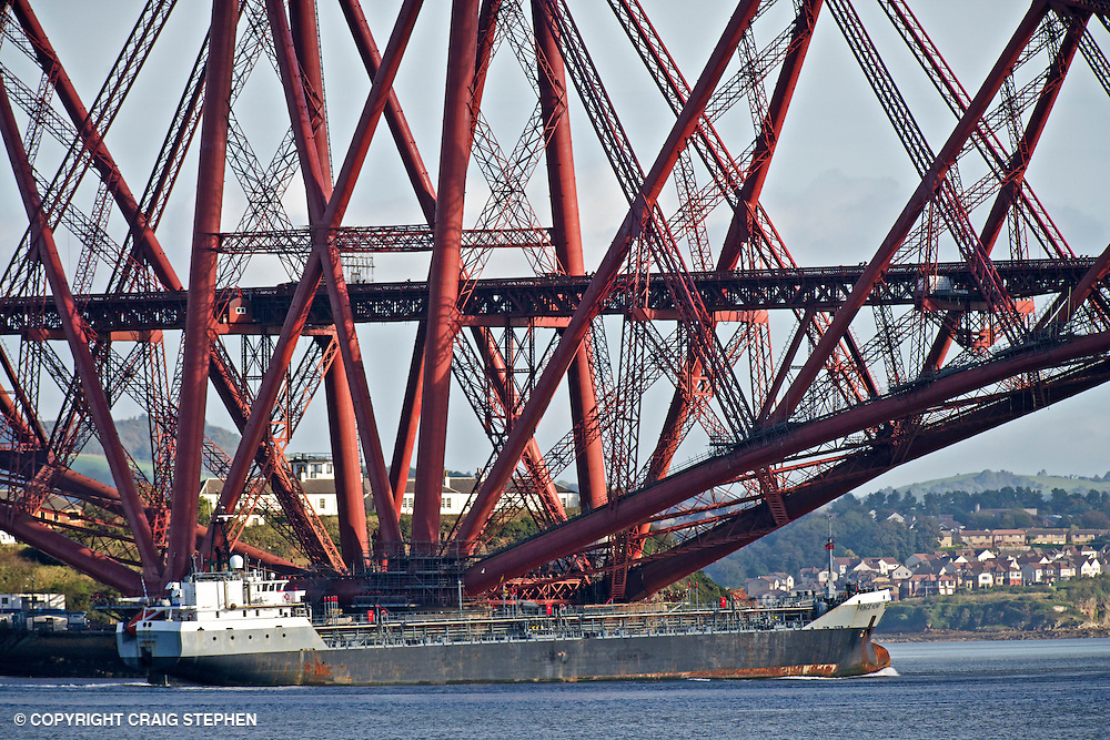 Oil tanker, Prince Henri, Luxembourg sailing down the Forth estuary past the Forth Rail bridge
