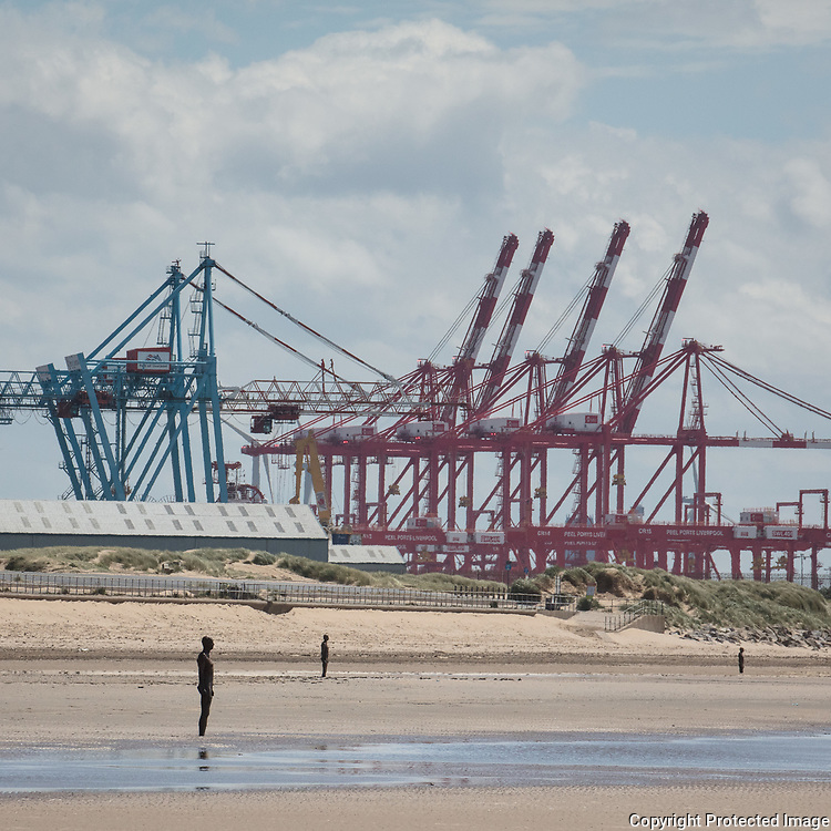 Another Place and Liverpool Port, Merseyside.