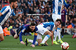 March 30, 2019 - Barcelona, Catalonia, Spain - Leo Messi and Esteban Granero during the match between FC Barcelona and RCD Espanyol, corresponding to the week 29 of the Liga Santander, played at the Camp Nou Stadium, on 30th March 2019, in Barcelona, Spain. (Credit Image: © Joan Valls/NurPhoto via ZUMA Press)
