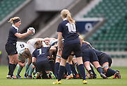 Twickenham, United Kingdom. Carly BLISS, readies to pass the ball into the scrum, during the 2015 Women's Varsity Match, Oxford vs Cambridge, RFU Twickenham Stadium, England.<br /> <br /> Thursday  10/12/2015<br /> <br /> [Mandatory Credit. Peter SPURRIER/Intersport Images].