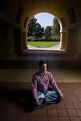 Stanford student Somik Raha (Hindu) at Littlefield Center.