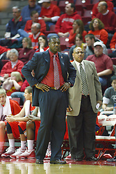 11 December 2010: Coaches Howard Moore and Donnie Kirksey during an NCAA basketball game between the Illinois - Chicago Flames (UIC) and the Illinois State Redbirds (ISU) at Redbird Arena in Normal Illinois.