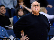 St. Louis  University basketball coach Rick Majerus watches the closing moments of the Billikens' 66-46 Atlantic 10 win over Fordham University at Chaifetz Arena on the St. Louis University campus Saturday, Feb. 18, 2012 in St. Louis. Photo © copyright 2012 Sid Hastings.