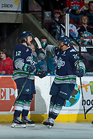 KELOWNA, CANADA - APRIL 26: Ryan Gropp #12 and Keegan Kolesar #28 of the Seattle Thunderbirds celebrate a first period goal against the Kelowna Rockets on April 26, 2017 at Prospera Place in Kelowna, British Columbia, Canada.  (Photo by Marissa Baecker/Shoot the Breeze)  *** Local Caption ***