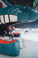 KELOWNA, CANADA - JANUARY 10: Leon Draisaitl #29 of Kelowna Rockets enters the ice against the Medicine Hat Tigers on January 10, 2015 at Prospera Place in Kelowna, British Columbia, Canada.  (Photo by Marissa Baecker/Shoot the Breeze)  *** Local Caption *** Leon Draisaitl;