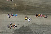 Aerial view of beachgoers on the beach at the New Jersey Shore