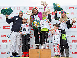 22.03.2014, Sportalm, Seefeld, AUT, 8. World Star Ski Event, Star Team for Children, Preisverleihung, im Bild Podium Paralellsalom Peter Fill (Vize Weltmeister Super-G), Maxi Thomann (2. Platz), Pernilla Wiberg (Olympiasiegerin und Weltmeisterin Ski Alpin), Nicolas Ferschl (1. Platz), Daniela Ceccarelli (Olympiasiegerin und Weltmeisterin Ski Alpin), Nicolas Windisch (3. Platz) // during the award ceremony of Star Team for Children of 8th World Star Ski Event at the Sportalm in Seefeld, Austria on 2014/03/22. EXPA Pictures © 2014, PhotoCredit: EXPA/ Johann Groder