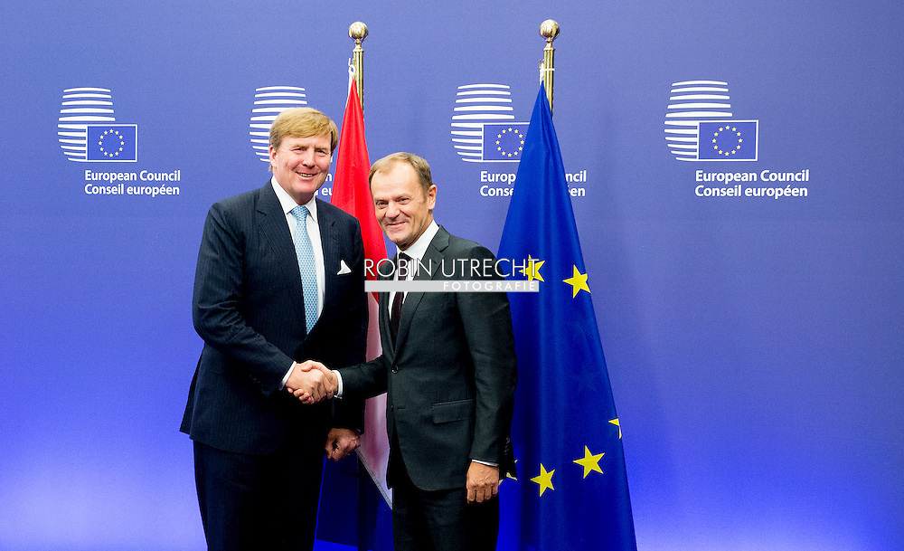 3-11-2015 BRUSSELS - King Willem Alexander  meets Donald Tusk<br /> Voorzitter van de Europese Raad  King Willem Alexander visit the European Union in Brussels . COPYRIGHT ROBIN UTRECHT