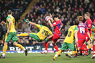 London - Tuesday, January 1st, 2008: Jose Fonte (R) of Crystal Palace stops a shot  from Darel Russell (L) of Norwich City during the Coca Cola Championship match at Selhurst Park, London. (Pic by Mark Chapman/Focus Images)