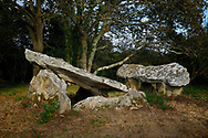 Kerran prehistoric passage grave Neolithic dolmen burial chambered tomb. South of Crac'h, Brittany, France. The eastern dolmen