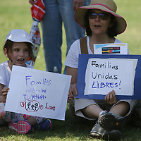 Dinorah Sapp and her daughter Olivia, 6, came out Saturday to Fairpark to show their support for the families who have been seperated for seeking asylum in the U.S.