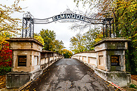 Gateway and bridge into the historic Elmwood cemetery in Memphis, Tennessee.