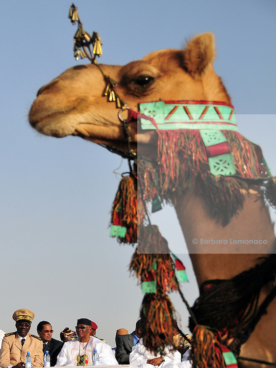 Former Malian president Amadou Toumani Touré waiting for the beginning of the camels race organized by the 10th edition of the Festival au Désert in Timbuktu.