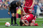 Middlesbrough FC striker David Nugentrecovers froma Yellow card tackle during the Sky Bet Championship match between Middlesbrough and Fulham at the Riverside Stadium, Middlesbrough, England on 17 October 2015. Photo by George Ledger.