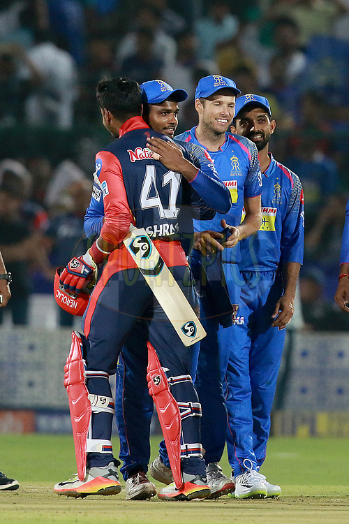 RR players celebrates after win the match during match six of the Vivo Indian Premier League 2018 (IPL 2018) between the Rajasthan Royals and the Delhi Daredevils held at the The Sawai Mansingh Stadium in Jaipur on the 11th April 2018.<br /> <br /> Photo by: Rahul Gulati  SPORTZPICS