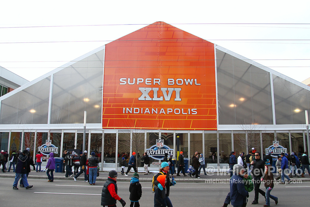 Jan. 29, 2012; Indianapolis, IN, USA; Super Bowl XLVI signage outside of the Super Bowl Experience in downtown Indianapolis. Mandatory credit: Michael Hickey-US PRESSWIRE