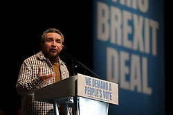 © Licensed to London News Pictures. 09/12/2018. London, UK. Actor Eddie Marsen speaks at a People's Vote rally at the Excel Centre in London. MPs will vote on Prime Minister Theresa May's proposed Brexit deal in the coming week. Photo credit: Rob Pinney/LNP