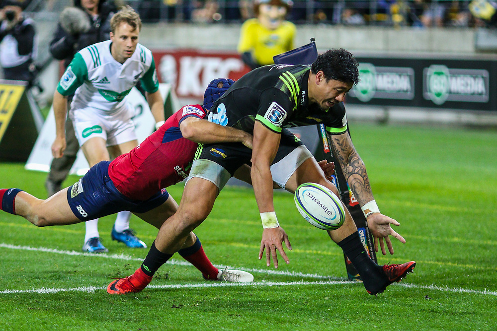 Ben Lam  fumbles on the line during the Super rugby union game (Round 14) played between Hurricanes v Reds, on 18 May 2018, at Westpac Stadium, Wellington, New  Zealand.    Hurricanes won 38-34.