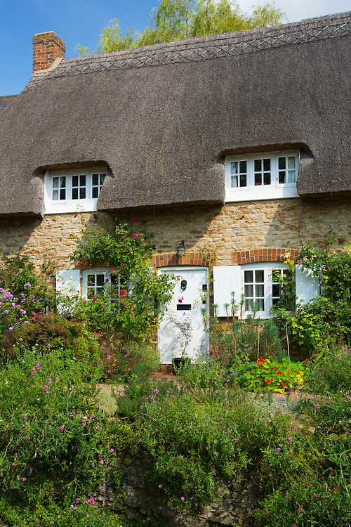 Quaint traditional thatched cottage, rose-covered, at Clifton Hampden in Oxfordshire, UK