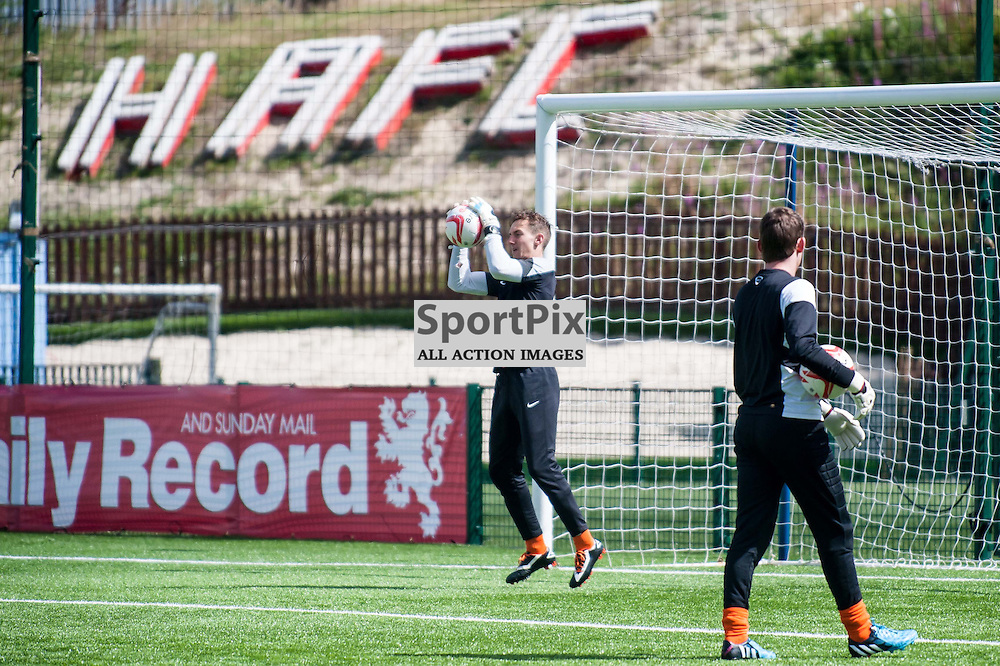Hamilton Accies goalkeepers warm-up ahead of the Hamilton Accies v Inverness Caledonian Thistle game in the Scottish Premiership at New Douglas Park in Hamilton, 9 August 2014. (c) Paul J Roberts / Sportpix.org.uk