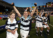 Angela McGregor and Monalisa Codling celebrate with team mates as the Auckland Storm defeat Canterbury to win the Women's NPC Final at Eden Park, Saturday 2 October 2004.<br />