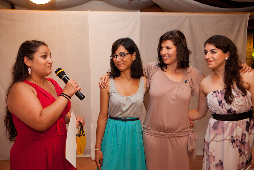 Barvalipe: The 2nd Roma Pride Summer Camp for young Roma from Central and Eastern Europe at Szentendre Island near Budapest, Hungary. Participant Magdalena Karvayova from Czech Republic thanks with a speech to the organisers and supervisors during the final evening celebration.
