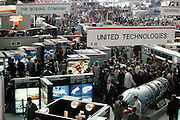 Some of the American companies booths inside the main hall at the Paris Air Show, at Le Bourget Airport, France. Held every other year, the event is one of the world's biggest international trade fairs for the aerospace business.