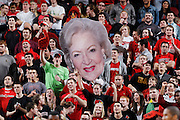 LOUISVILLE, KY - FEBRUARY 6: Louisville Cardinals fans hold up a cardboard cutout of actress Betty White during the game against the Connecticut Huskies at KFC Yum! Center on February 6, 2012 in Louisville, Kentucky. The Cardinals defeated the Huskies 80-59. (Photo by Joe Robbins)