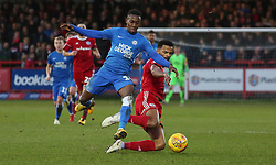 Siriki Dembele of Peterborough United in action with Michael Ihiekwe of Accrington Stanley - Mandatory by-line: Joe Dent/JMP - 29/12/2018 - FOOTBALL - Wham Stadium - Accrington, England - Accrington Stanley v Peterborough United - Sky Bet League One