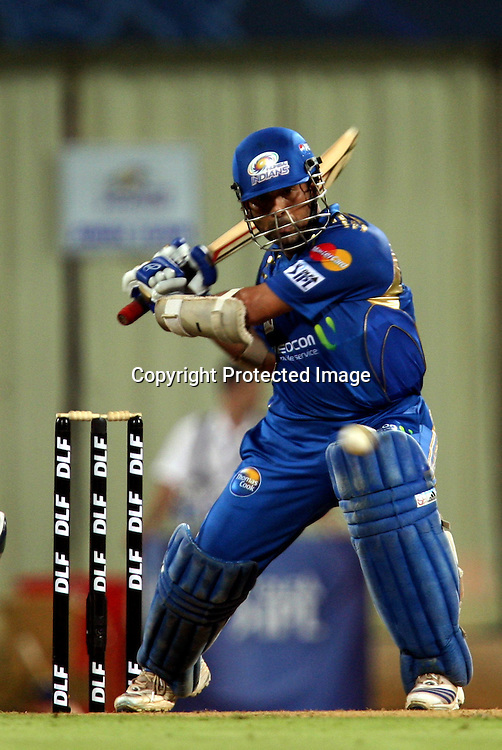 Mumbai Indians Batsman Sachin Tendulkar Hit The Shot Against Deccan Chargers During The Deccan Chargers vs Mumbai Indians, 25th Twenty20 match Indian Premier League- 2009/10 season Played at Dr DY Patil Sports Academy, Mumbai 28 March 2010 - day/night (20-over match)