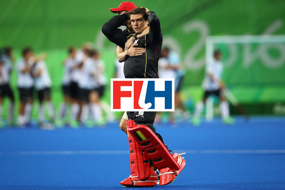 RIO DE JANEIRO, BRAZIL - AUGUST 18:  Vincent Vanasch #21 of Belgium reacts after losing the Men's Hockey Gold Medal match between Belgium and Argentina on Day 13 of the Rio 2016 Olympic Games at Olympic Hockey Centre on August 18, 2016 in Rio de Janeiro, Brazil.  (Photo by Clive Brunskill/Getty Images)