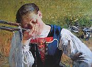 Giovanni Segantini (1858 - 1899), Italian painter. 'Bevendo alla fontana' Drinking from the fountain (1887)