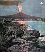 Eruption of Mount Vesuvius, Bay of Naples, Italy, 18 July 1892. From 'Le Petit Journal', Paris, 30 July 1892.  Volcano, Science, Vulcanology