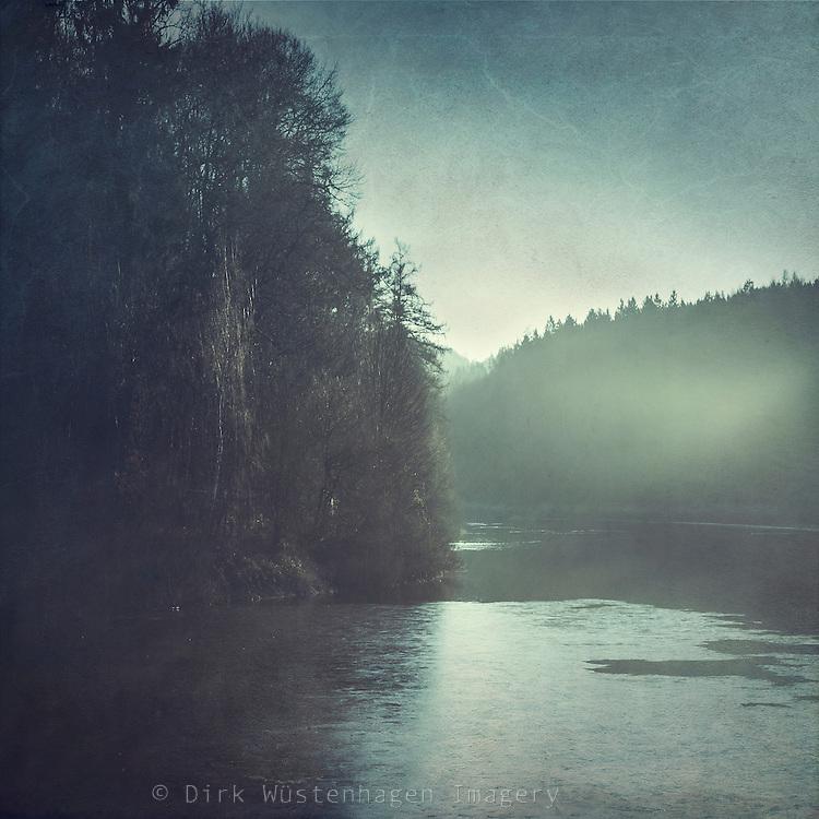 First light on a frozen lake  -  textured photograph