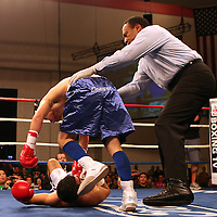 "Former WBO World champion Alex ""El Nene"" Sanchez (White Trunks) of Ponce, Puerto Rico holds onto Glen Donaire (Blue Trunks) after being knocked down in round 2  at the Kissimmee Civic Center in Kissimmee, Florida, on Friday, Dec 9, 2011.  Donaire won the bout when Sanchez injured his left wrist and failed to come out in the ninth round. (AP Photo/Alex Menendez)"