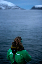 NORWAY TROMSO 5DEC15 - Greenpeace campaigner Larissa Baeumer of Germany during whale observations in Kvalsoya Sound near the arctic city of Tromso.<br /> <br /> jre/Photo by Jiri Rezac / Greenpeace<br /> <br /> © Jiri Rezac 2015