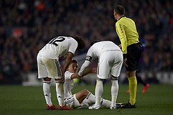February 6, 2019 - Barcelona, Barcelona, Spain - Marcos Llorente of Real Madrid lies injured on the pitch  during the Spanish Cup (King's cup), first leg semi-final match between FC Barcelona and  Real Madrid at Camp Nou stadium on February 6, 2019 in Barcelona, Spain. (Credit Image: © Jose Breton/NurPhoto via ZUMA Press)