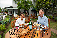 "Ivette and Ross Emery enjoy their dinner ""lakeside"" at Lago's on Wednesday evening.  (Karen Bobotas/for the Laconia Daily Sun)"