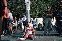 October 1984 --- Exhausted After the New York Marathon --- Image by © Owen Franken/Corbis