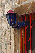 Colorful lamp and window, Hvar Island, Croatia