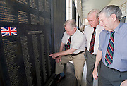 Korea War veterans (from r to l) John Leese, Ernest Moscrop and Robison Brown, look at the names of fellow British soldiers who died during the Krean War at the National War Museum in Seoul, South Korea on 23 June 2010..Photographer: Rob Gilhooly .