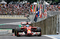ALONSO Fernando (Spa) Ferrari F14T action   during the 2014 Formula One World Championship, Brazil Grand Prix from November 6th to 9th 2014 in Sao Paulo, Brazil. Photo Frederic Le Floch / DPPI.